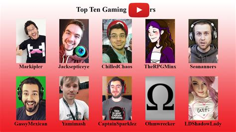 best youtubers top 10 gaming youtubers by kurtklaineblaine on deviantart