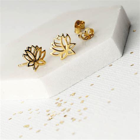 lotus flower studs earrings by narrate