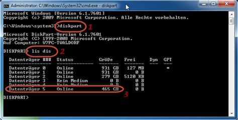 diskpart format usb fat32 diskpart starten und usb festplatte identifizieren