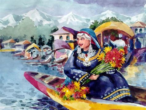 dal the paintings dal lake jewel in the crown of kashmir painting by donna jolly jacob