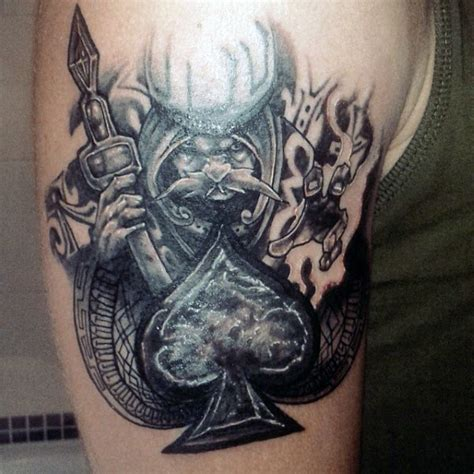 white wizard tattoo big black and white wizard with spades symbol