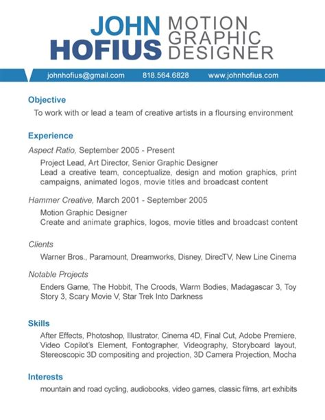 Motion Designer Sle Resume motion graphics resume template 28 images editor resume sles visualcv resume sles editor