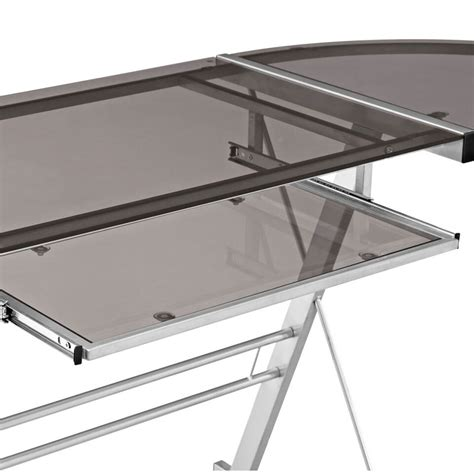 Walker Edison 3 Piece Contemporary Desk Silver With Smoked Walker Edison 3 Contemporary Desk