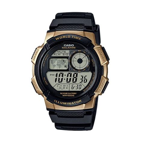 Casio Jam Tangan Hitam Karet Sport jual casio jam tangan pria hitam ae 1000w 1a3vdf