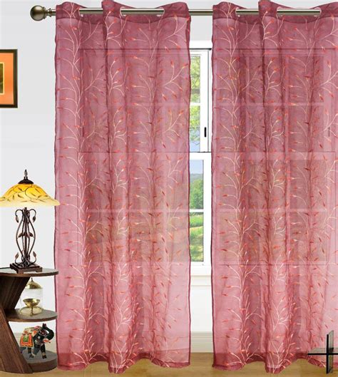 red embroidered curtains dekor world set of 2 long door eyelet curtains embroidered