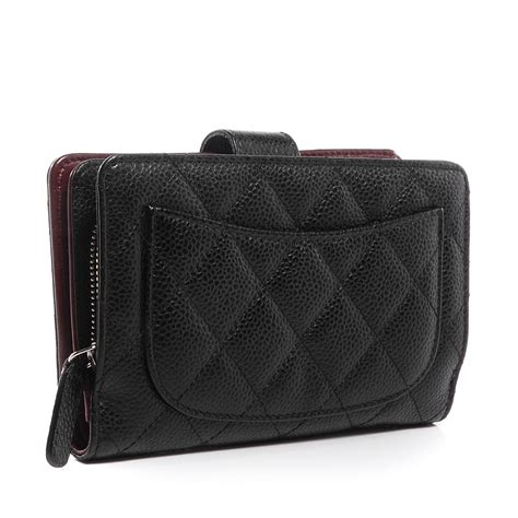 Chanel Quilted Wallet by Chanel Caviar Quilted Zipped Pocket Wallet Black 75117