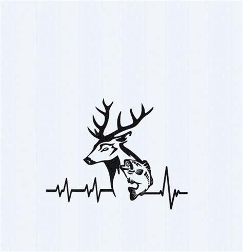 heartbeat hunting tattoo deer fish svg cutting file hunting svg heartbeat buck svg