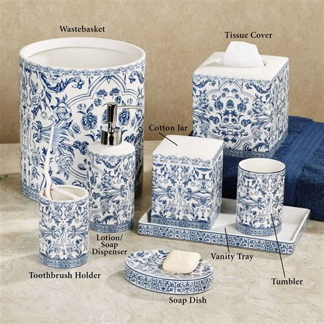 White And Blue Bathroom Accessories by Orsay Blue Toile Porcelain Bath Accessories