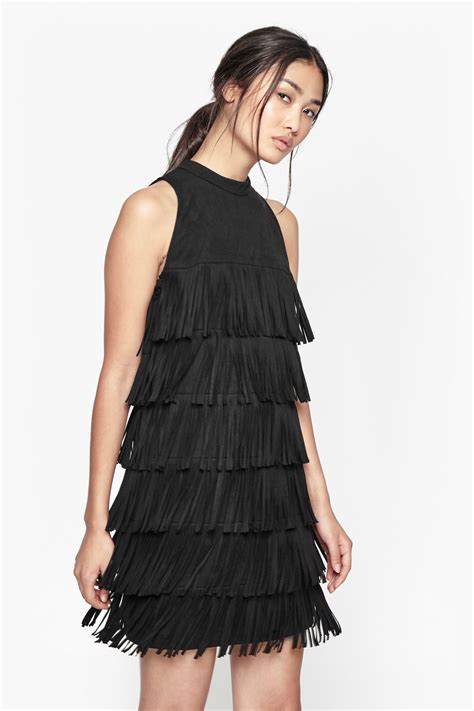 french connection hula fringe faux suede dress  black lyst