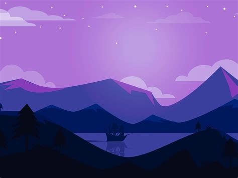 minimal ship artwork purple background full hd  wallpaper