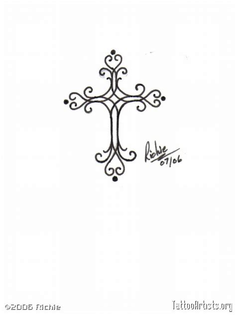 scroll cross tattoos scroll work cross artists org