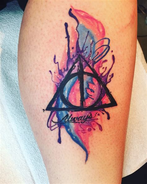 deathly hallows symbol tattoo colored deathly hallows symbol always creativefan