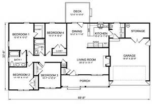 Four Bedroom Ranch House Plans by Gallery For Gt 4 Bedroom Ranch Style House Plans