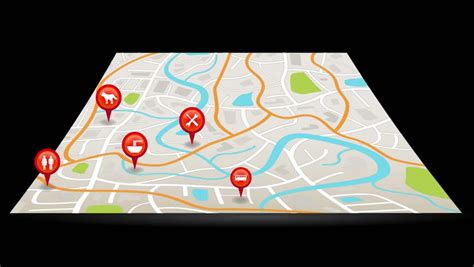 navigation city map and icons animation stock animation map animation with map pins and arrows stock footage
