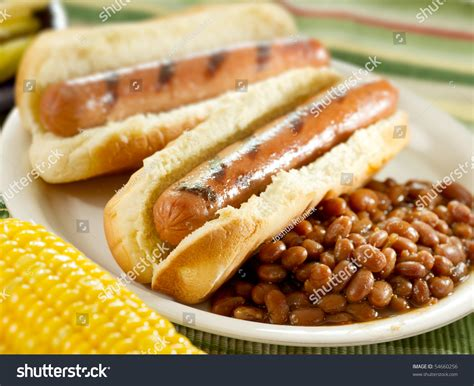 dogs and beans dogs and baked beans stock photo 54660256