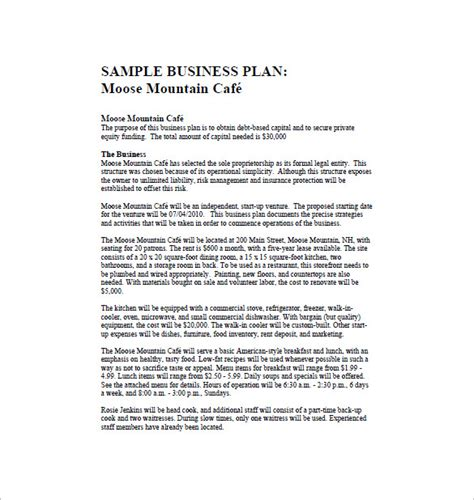 cafe business plan template restaurant business plan template 14 free word excel