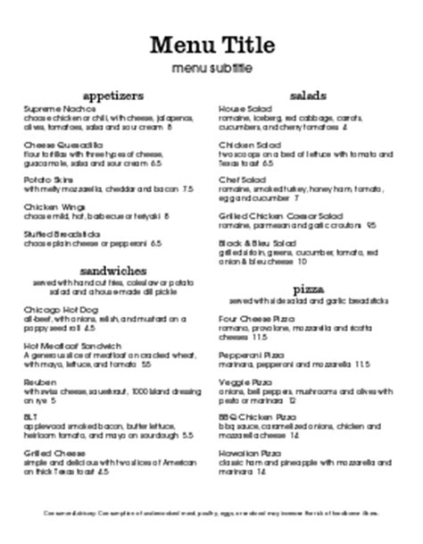 create your own menu template create your own menu menu templates musthavemenus 103