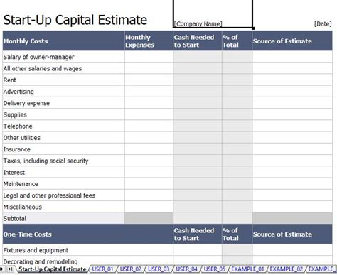 start up capital template images templates design ideas