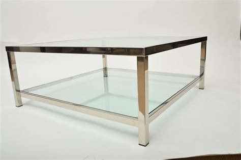 Chrome And Glass Square Coffee Table At 1stdibs Glass And Coffee Table