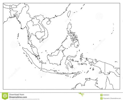 Free Asia Outline Map Vector by South East Asia Political Map Black Outline On White Background Simple Flat Vector
