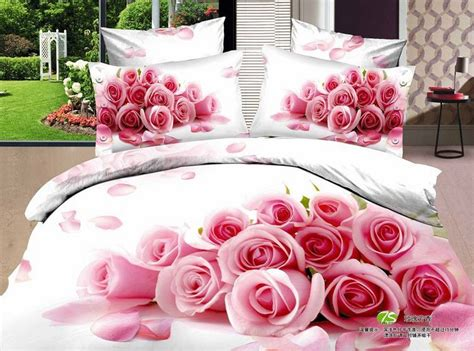 good cotton good quality 100 cotton oil painting pink rose bedding 3d