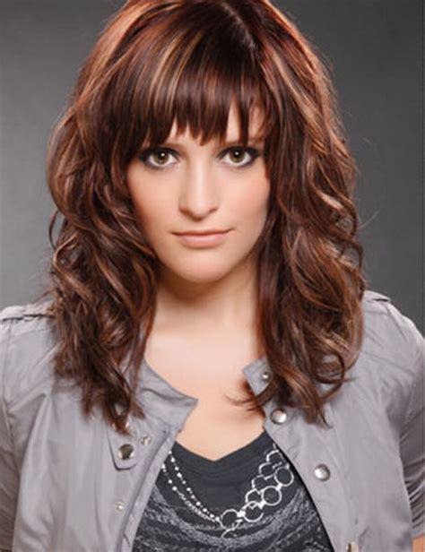 medium haircut with bangs cute hairstyles for medium curly hair with side bangs