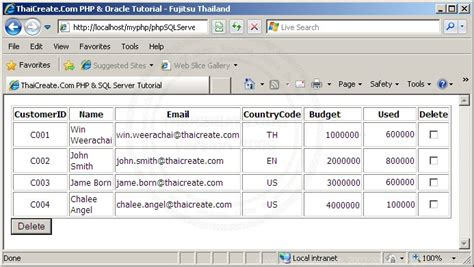 tutorial php oracle pdf php oracle multiple checkbox delete record