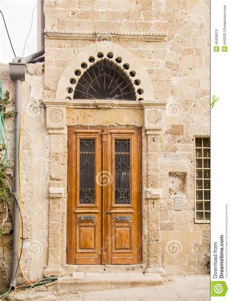 decorated door wooden decorated door in house stock photo image