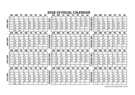 fiscal year calendar template 2018 fiscal calendar template starts at april free