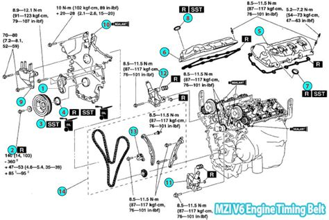 2008 mazda cx 9 timing belt parts diagram mzi v6 engine
