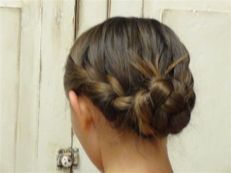 glue in french braids double french braid messy bun similar to katniss hair at