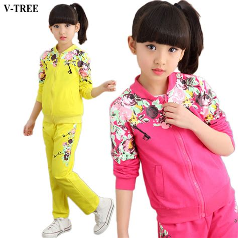v tree clothing set 2017 autumn floral clothes set