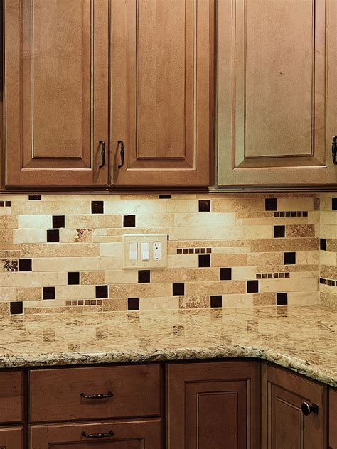 BROWN GLASS TRAVERTINE Mix Backsplash Tile for Traditional