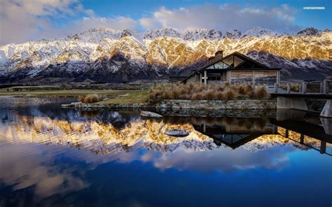 Mountain House Water by Snowy Mountains In New Zealand Walldevil