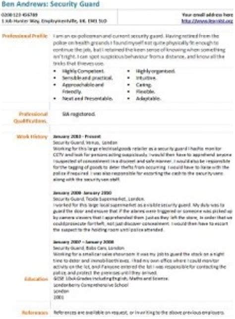 curriculum vitae format for security guard security guard cv exle learnist org