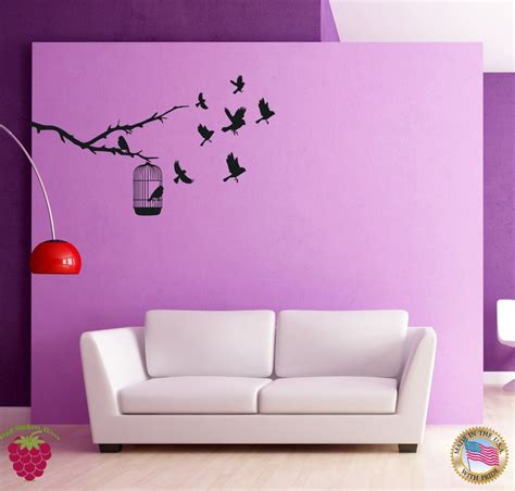 cool bedroom wall art wall sticker birds branch cage cool decor for bedroom