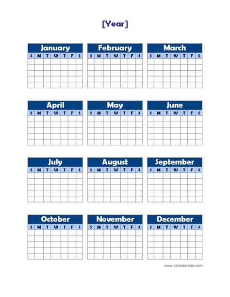 blank yearly calendar template yearly blank calendar potrait free printable templates
