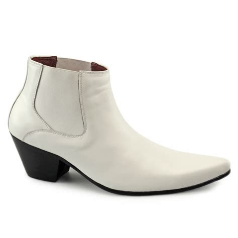 mens heeled boots paolo vandini veer mens cuban heel formal boots white