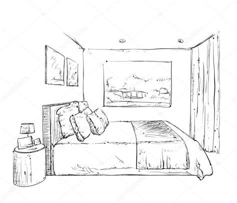 bedroom sketch bedroom interior sketch stock vector
