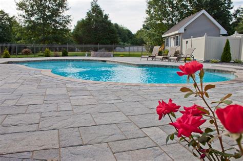 pool design options northern pool spa me nh ma patio flagstone cost stone patio sitting wall steps copy