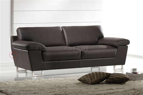 dark brown leather modern sofa loveseat set wmetal legs