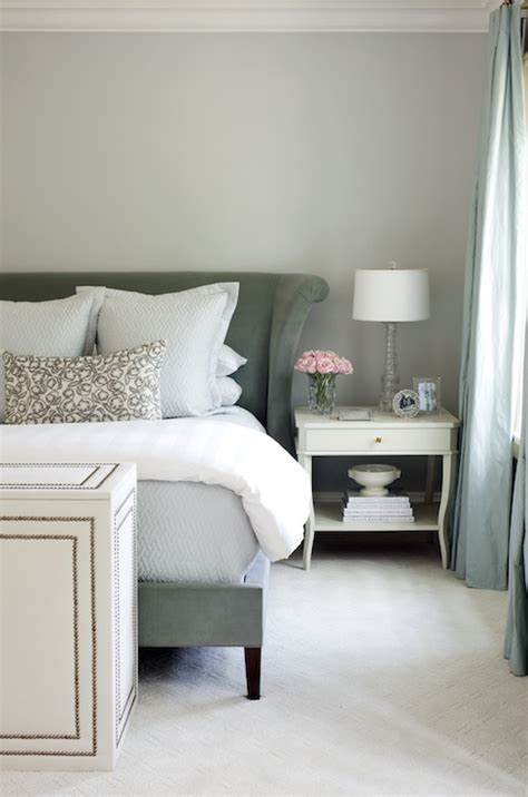 Light Gray Bedroom Walls Velvet Wingback Headboard Transitional Bedroom At Home In Arkansas