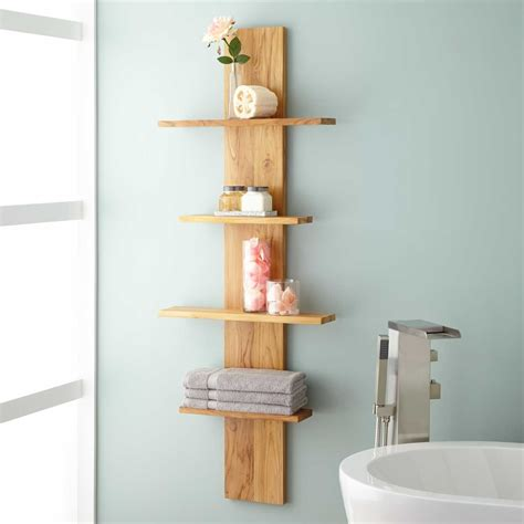 Shelves For Bathrooms Wulan Hanging Bathroom Shelf Four Shelves Teak