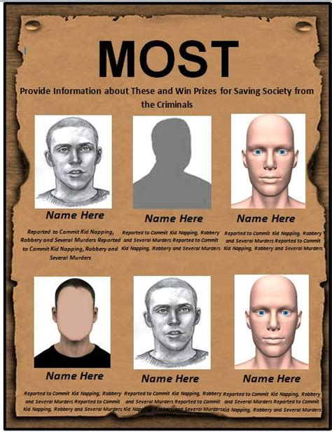 18 Free Wanted Poster Templates Fbi And Old West Free Free Template Downloads Most Wanted Poster Template