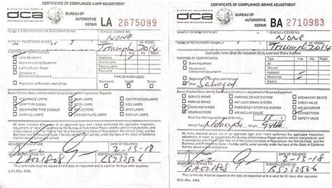 ca brake and light inspection checklist dmv brake and light inspection checklist