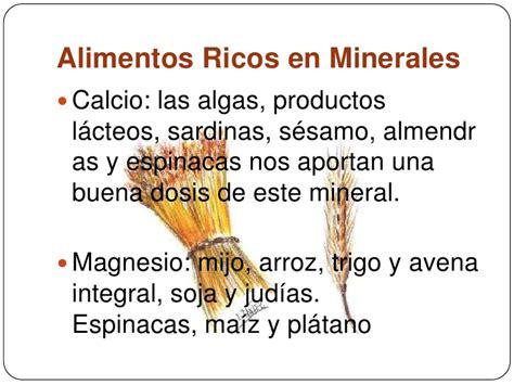 alimentos que contienen sales minerales vitaminas y minerales