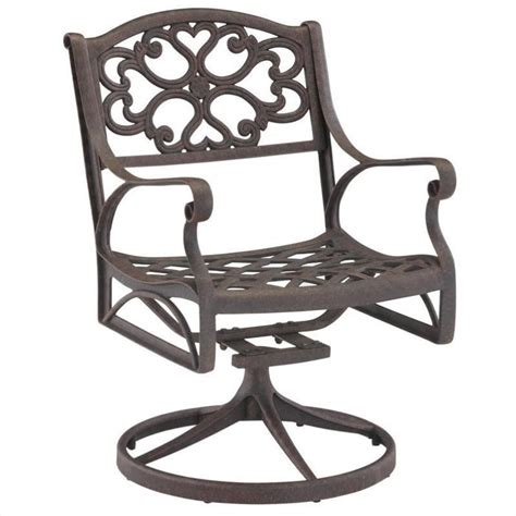 biscayne outdoor swivel dining arm chair in rust brown