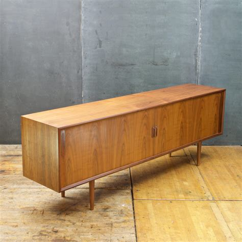 1960s giant danish walnut tambour door credenza mid