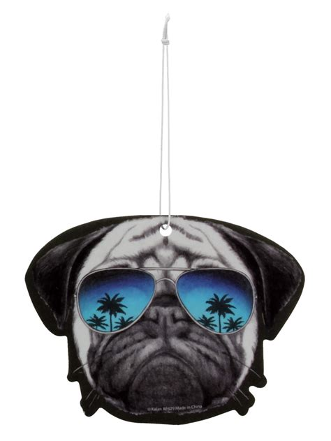 pug with goggles pug with sunglasses air freshener buy at grindstore