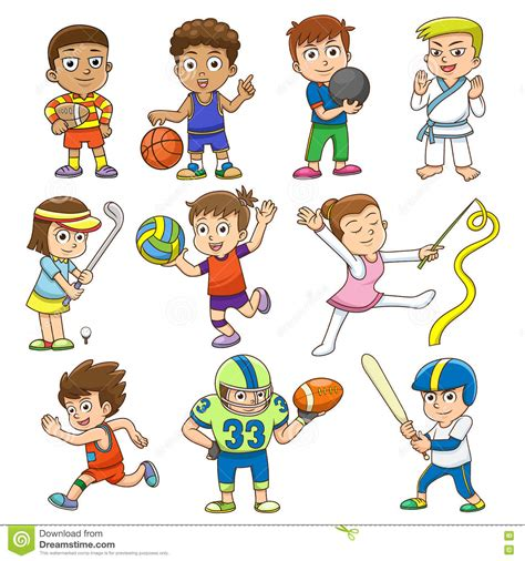 doodles basketball spielen illustration of children different sports stock